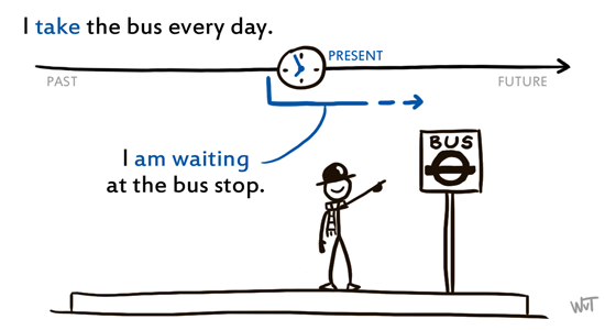 I take the bus every day. I am waiting at the bus stop.
