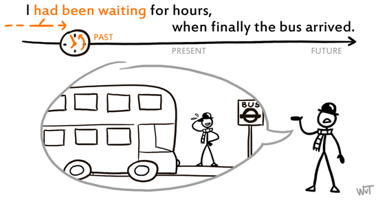 I had been waiting for hours, when finally the bus arrived